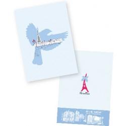 Carnet oiseau bleu  et tour Eiffel